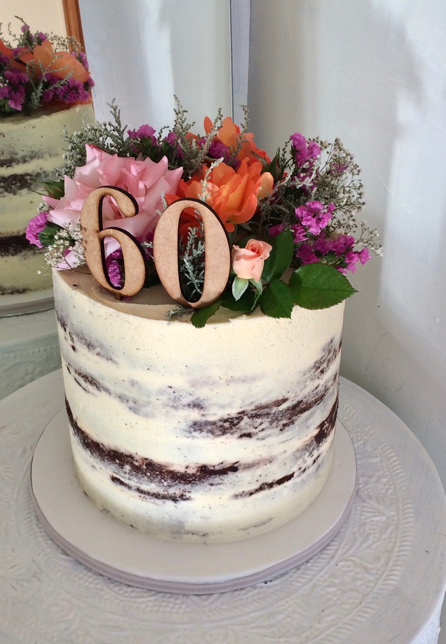 Rozannes Cakes 60th Naked Cake With Fresh Flowers