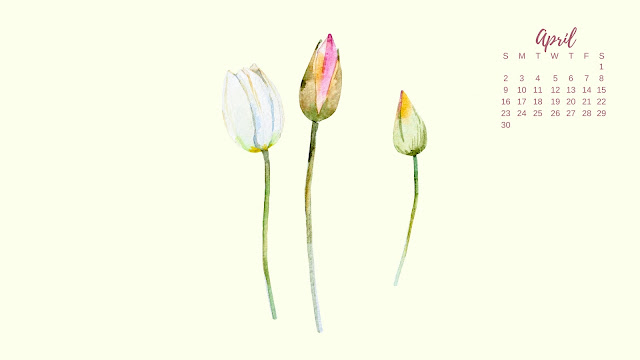 Watercolor Spring Flowers April 2017 Calendar Desktop Wallpaper 2 / www.thejoyblog.net