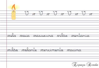 caderno de caligrafia letra V