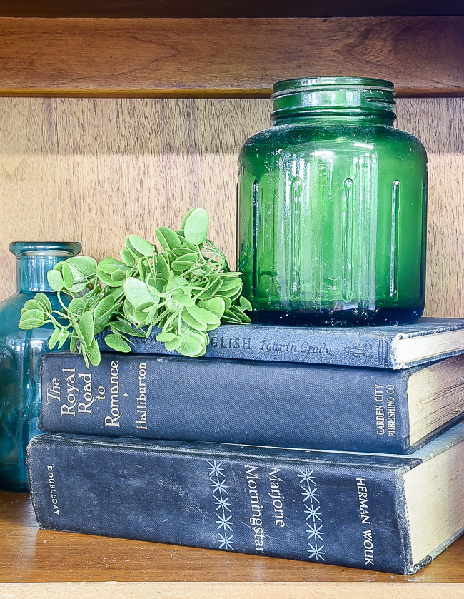 styled books and jars