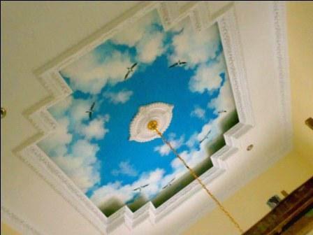Tahukah Anda bahwa mempercantik dan memperindah plafon atau langit Jasa Cat Motif Gambar Awan Di Plafon