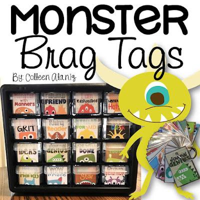 https://www.teacherspayteachers.com/Product/Brag-Tags-Monster-Theme-2601626