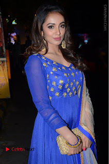Telugu Actress Tejaswi Madivada Pos in Blue Long Dress at Nanna Nenu Na Boyfriends Audio Launch  0057.JPG