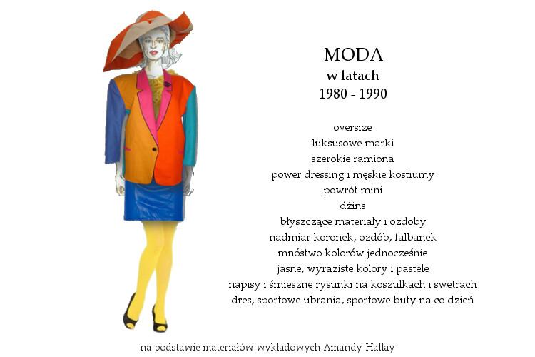 Agnieszka Sajdak-Nowicka moda w latach osiemdziesiątych 1980 - 1990 na podstawie materiałów wykładowych Amandy Hallay