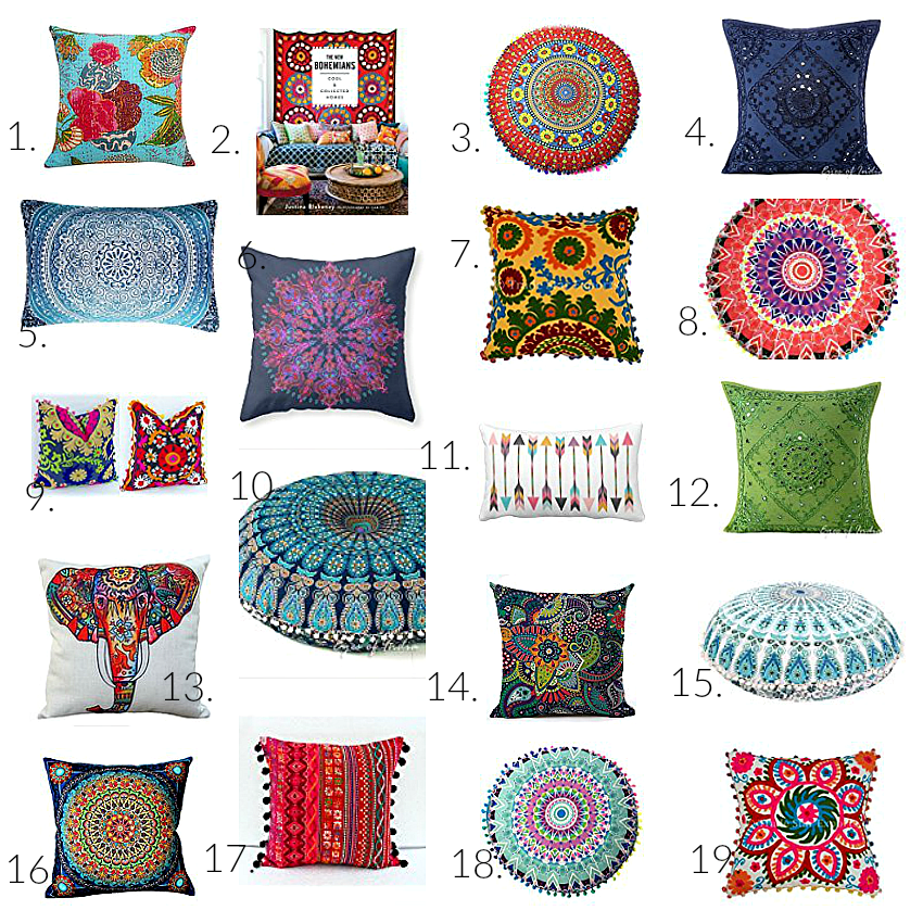 19 colorful bohemian throw pillows that will make you say. Black Bedroom Furniture Sets. Home Design Ideas