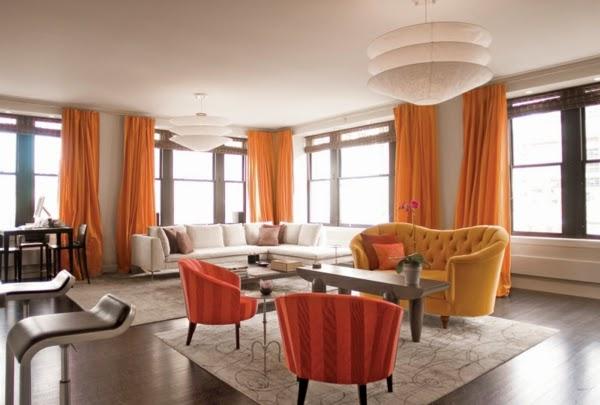 7 Orange living room design ideas and color cobinations