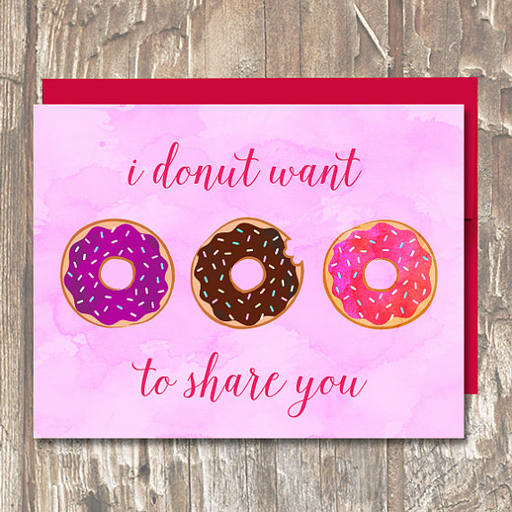 I Donut Want to Share You VDay Card - Erin Clark - Inked in Red
