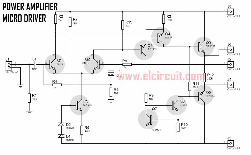 140w power amplifier circuit tip3055 tip2955 in 2019 audio
