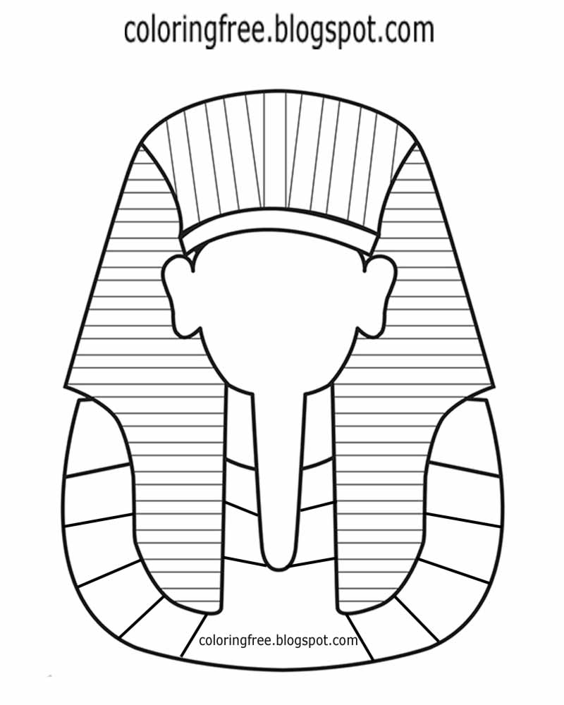 Simple Clip Art Egypt Pharaoh King Headdress Egyptian Drawing Tutankhamun Death Mask Coloring Pages