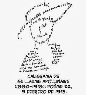 Cubismo - Caligrama de Gillaume Apollinaire