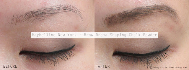 Maybelline New York Brow Drama Shaping Chalk Powder in Deep Brown Before After Review Swatch
