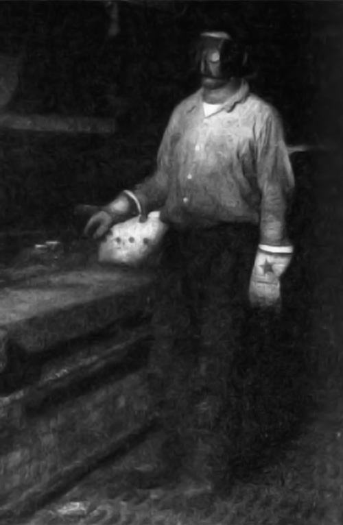 A combination face mask and skull cap worn by pot tenders in the galvanizing shop. It is a protection from hot metal when cold spelter is added to the bath.
