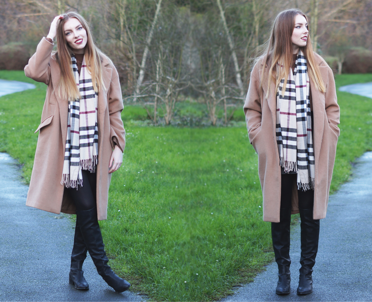 asos camel coat and long boots