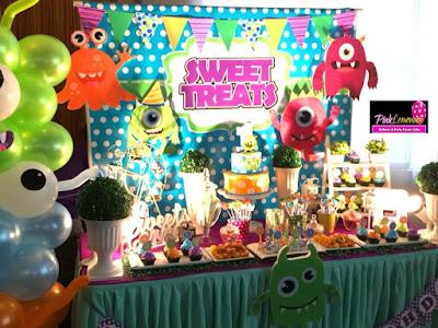 Little Monster themed Dessert buffet and balloon set-up