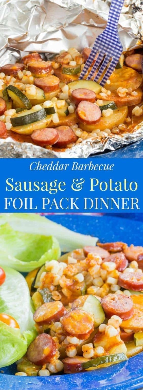 Cheddar Barbecue Sausage And Potato Foil Pack Dinner