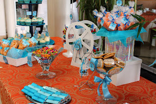 mesa de dulces bautizo - candy bar - dessert table - blue
