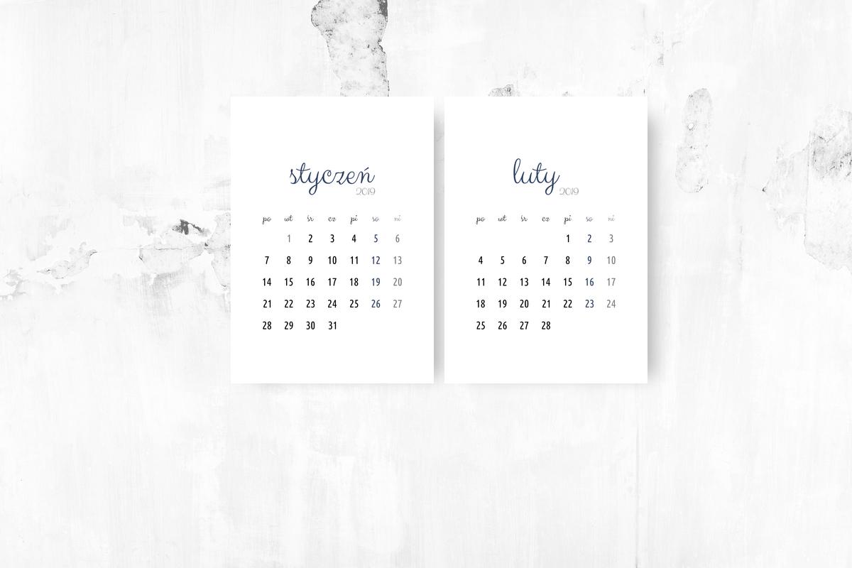 kalendarz miesięczny do pobrania 2019