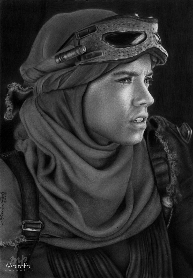 07-Rey-Star-Wars-Maíra-Poli-Mahbopoli-Black-and-White-Realistic-Pencil-Celebrity-Portraits-Drawings-www-designstack-co