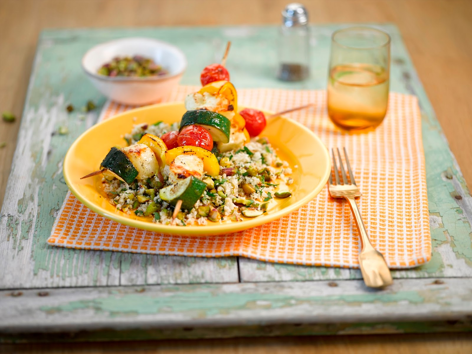 Cauliflower And Pistachio Couscous With Halloumi And Vegetable Kebabs...
