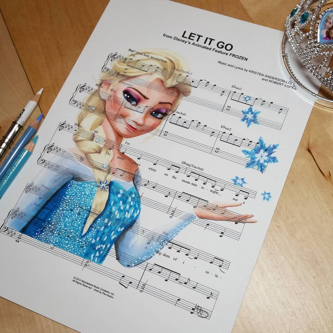 05-Frozen-Elsa-Let-it-go-Ursula-Doughty-Animated-Movies-Drawn-on-their-Music-Scores-www-designstack-co