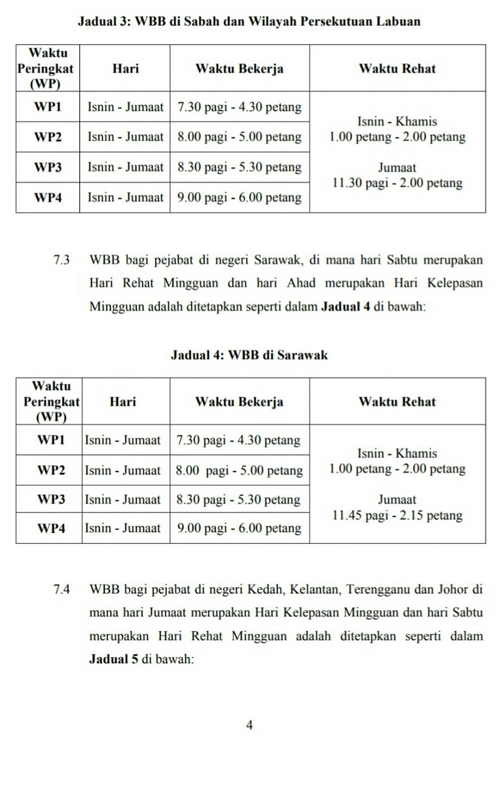 Penambahbaikan Waktu Bekerja Berperingkat Wbb Penjawat Awam 2018