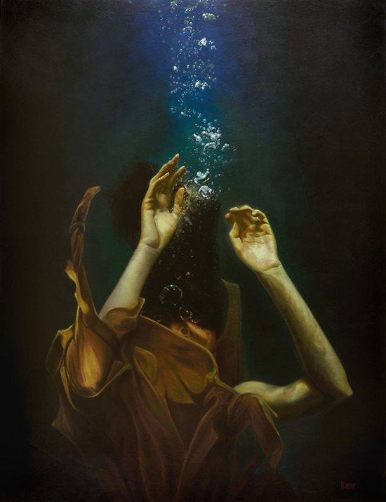 Mark Heine pinturas realistas mulheres na água sirens sereias