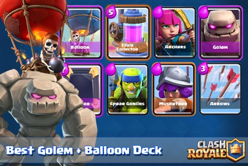 Strategi Deck Golem Balloon Arena 6 Clash Royale