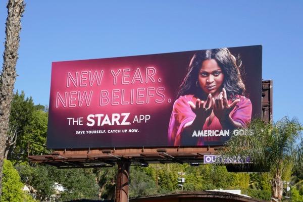 American Gods New Year Beliefs Starz App billboard