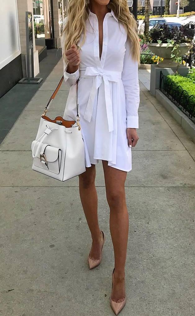 what to wear this season : white shirt dress + bag + beige heels