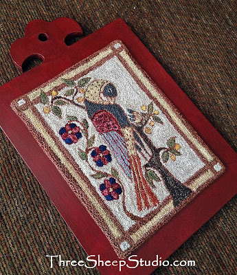 'A Mother's Watch' punchneedle design - an adaptation of an '1800' Fraktur