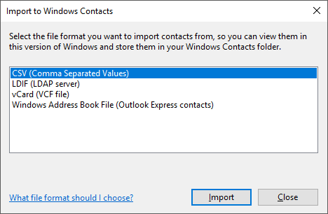 Import CSV file to Windows Contacts