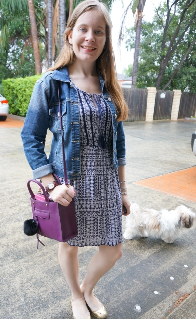 Jeanswest 'Chelsea' printed dress boho tie neck with denim jacket purple bag | away from the blue blog