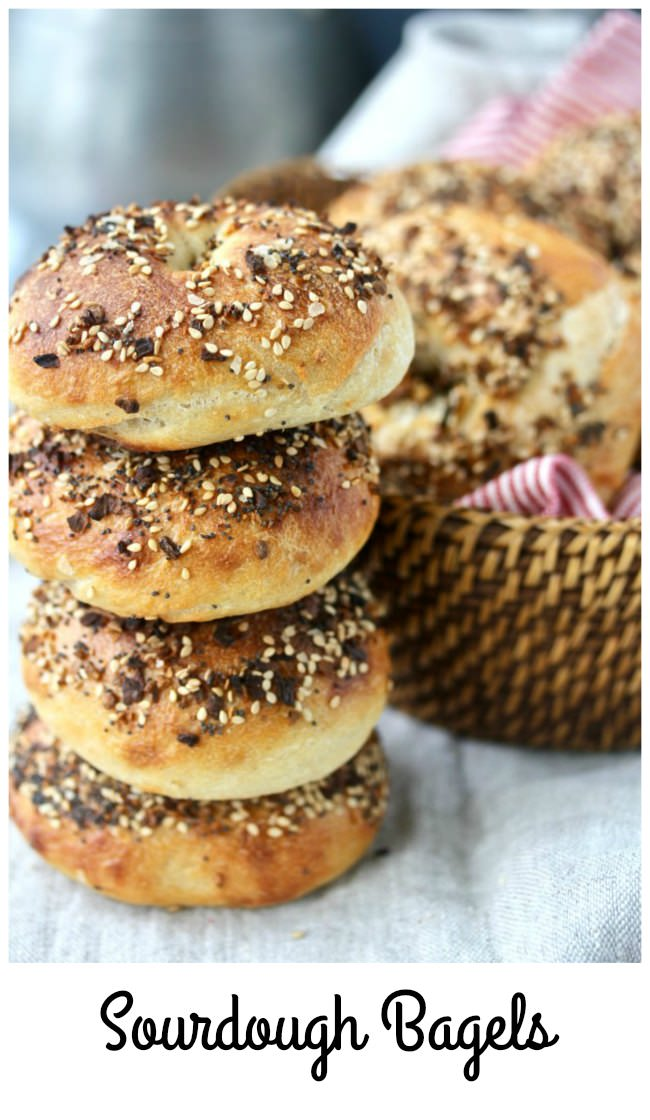 Everything Sourdough Bagels with sesame syrup