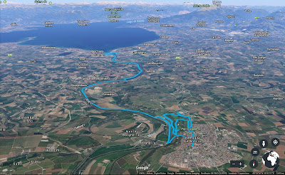 Another view of the route from Peschiera del Garda to Valeggio sul Mincio. The jumble of lines in the lower part of the image are exploration of Parco Giardino Sigurtà.