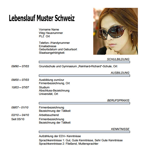 Lebenslauf Muster Schweiz ~ Dokument Blogs