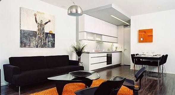 Diseño sala negro naranja