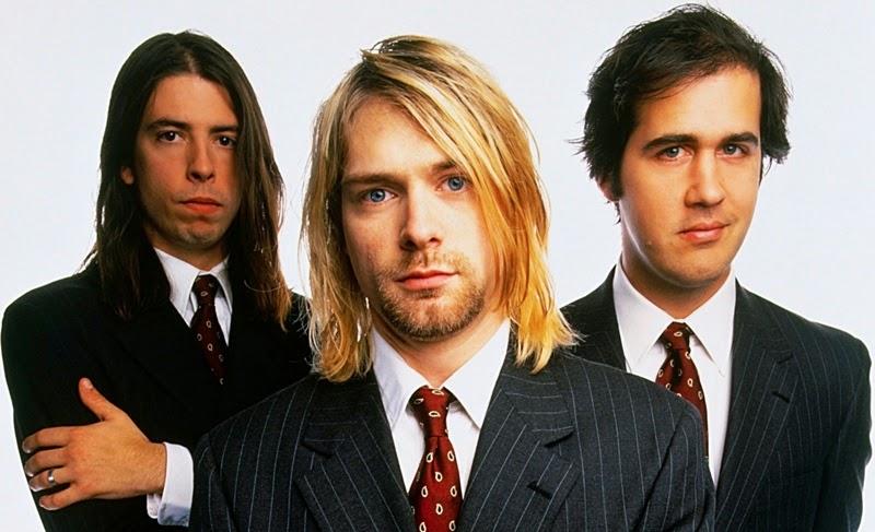 Os integrantes da banda Nirvana : Dave Grohl, Kurt Cobain e Krist Novoselic