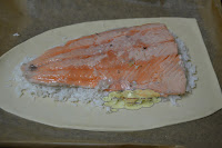 montaje, capa de arroz y salmón