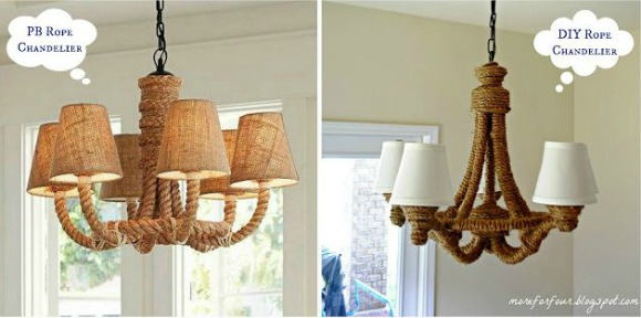 Pottery Barn Inspired Rope Chandelier