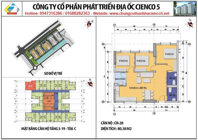 Sơ đồ thiết kế căn 28 chung cư B2.1 HH02C Thanh Hà Cienco 5
