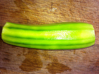 Peeled zucchini