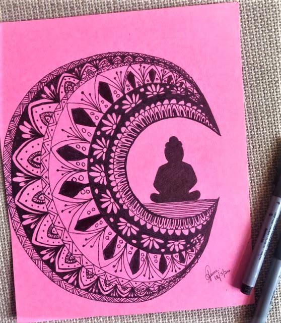Mandala painting of Half moon with buddha.