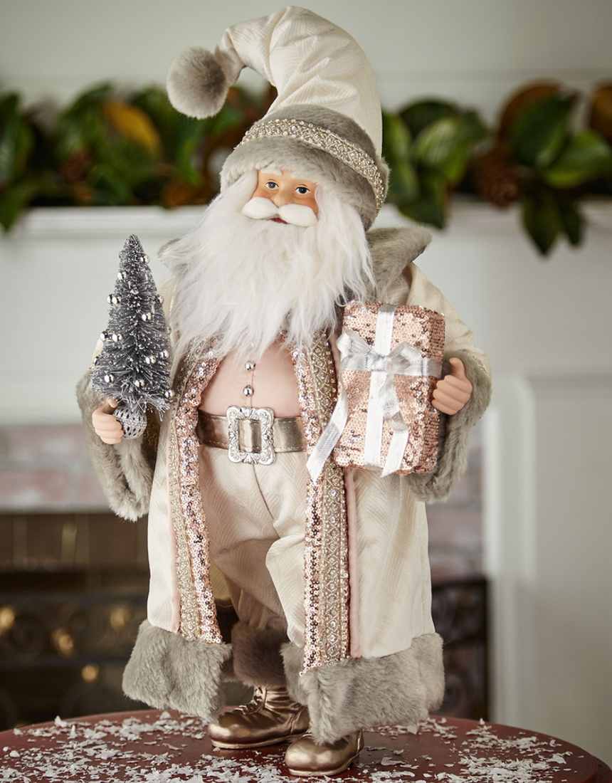 Blush & Pewter Collection Holiday Santa, 18""