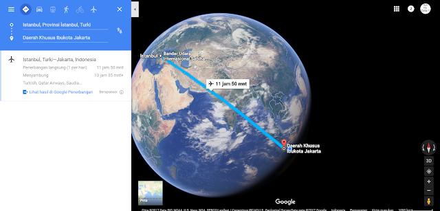 Berapakah jarak tempuh Indonesia ke Turki ?