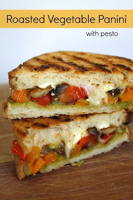 The Garden Grazer: Roasted Vegetable Panini with Pesto