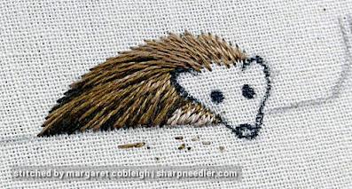 Thread painting the hedgehog's body fur. (Stumpwork and thread painted hedgehog)