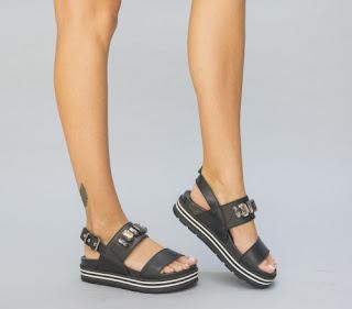 sandale negre cu talpa joasa ieftine lejere de vara