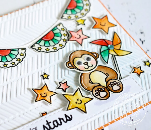 Sunny Studio Stamps: Reach For The Stars Monkey Card by Lexa Levana (using Stars & Stripes and Comfy Creatures)
