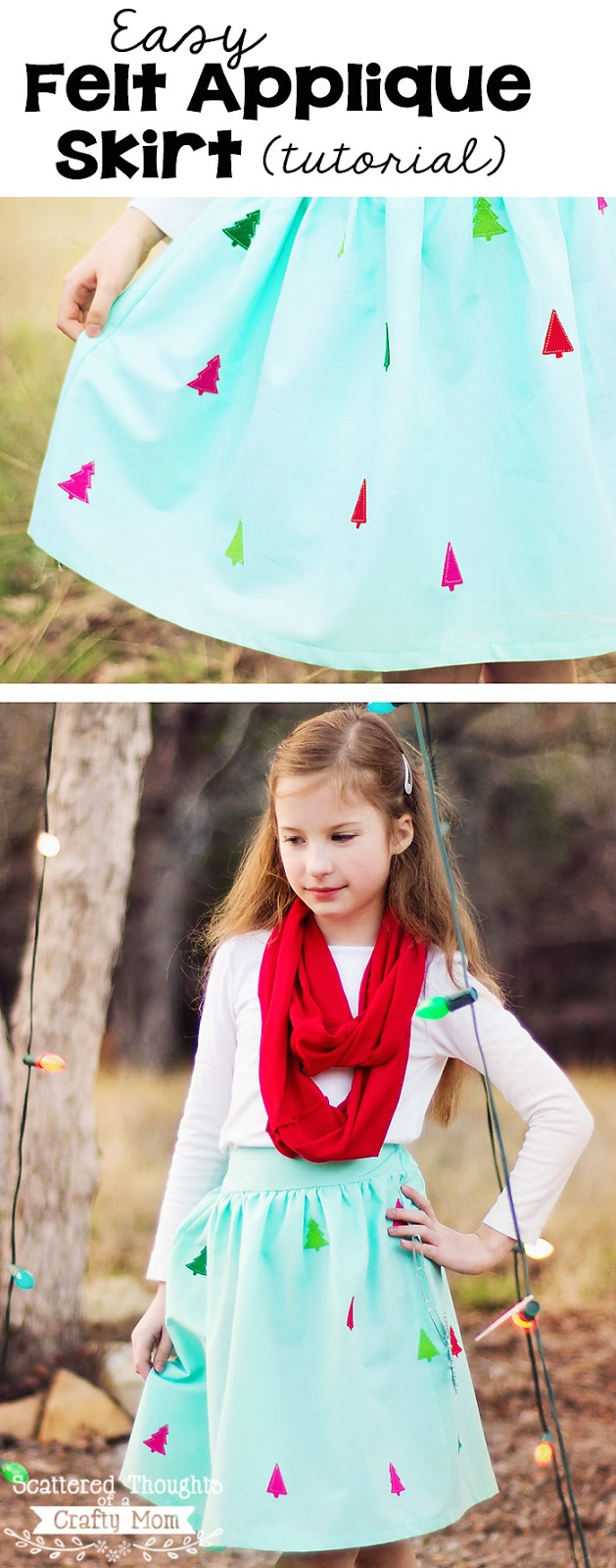 How to make this darling Felt Appliqued Skirt. (Includes link to free skirt pattern.)