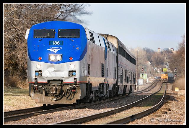 Amtrak 186 Leading the Ann Rutledge at Maplewood, MO.